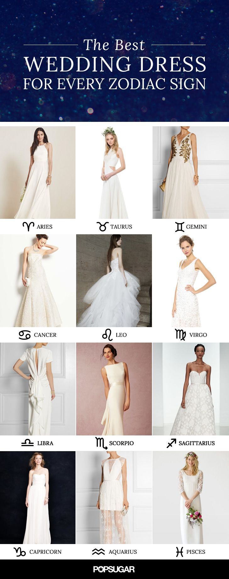 The best wedding dress for your zodiac sign: including princess, lace, satin, ball gown, mermaid, simple, sexy! Lots of beautiful inspiration.