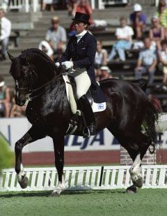 Finland's most renowned dressage horse, Matador, ridden to victory at the Volvo World Cup in 1991 by Kyra Kyrklund.
