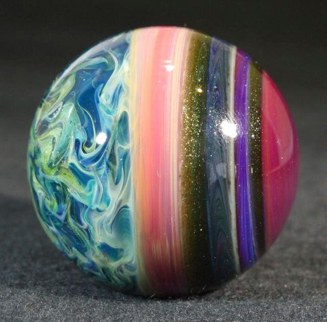 Juba Glass Contemporary Lampwork Borosilicate Marble Surface Work Blue Red SRA | eBay