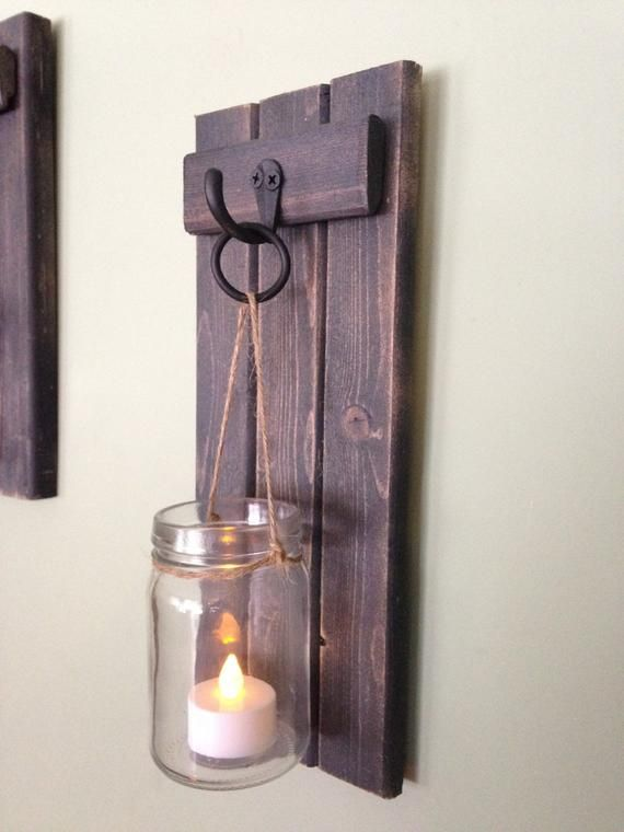 Wooden Candle Holder Rustic Wall Sconce Mason Jar Candle Etsy