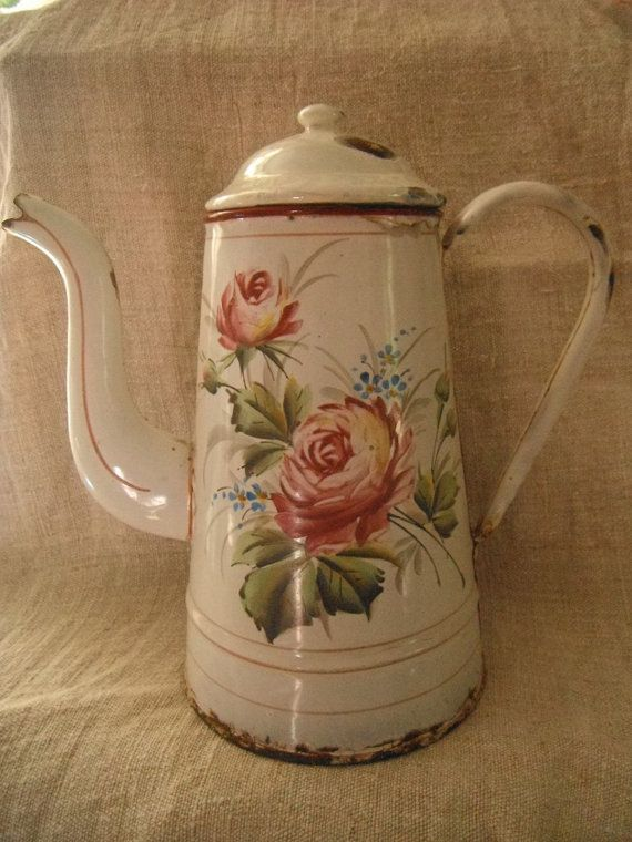 French Vintage Enamelware  Coffee Pot  Roses Shabby Cuisine.