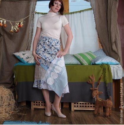 """Юбка летняя """" Голубые цветы"""" - голубой,юбка,юбка в пол,юбка длинная,юбка летняя"""