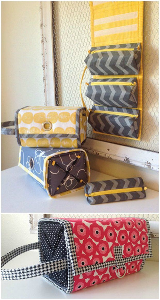 Sewing pattern for a Rolie Polie organiser. The 5 triangle pouches are removable and then it all rolls up and fits together perfectly. I've made two - for travelling bags for hubby and I. They're perfect!
