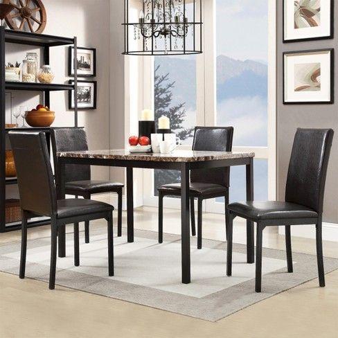 Devoe Dining Chairs Set Of 4 Dark Espresso Brown Chairs Dark Devoe Dining Espresso Inspire Dining Chairs Metal Dining Chairs Dining Table Marble