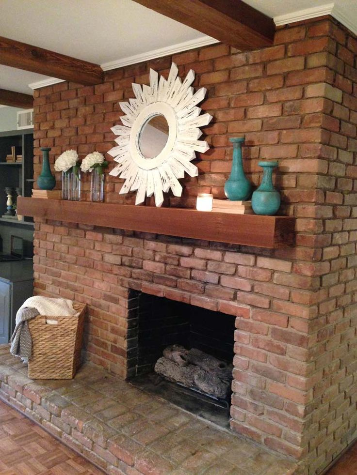 "Love how they made the brick fireplace pretty! Usually hate brick! HGTV ""Fixer Uppers"" Magnolia Homes"
