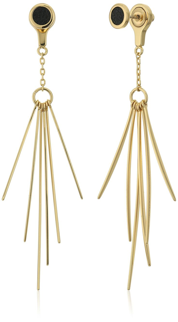 Rebecca Minkoff Leather Inlet with Needle Front Back Drop Earrings. Gold-plated earrings with each featuring a black leather inlet at stud and back jacket with needle drops. Designed in New York, sourced and produced in China. Imported.