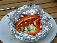 Gevulde paprika op de BBQ (veggie)