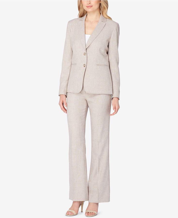 Tahari ASL Two-Button Crosshatch Pantsuit - Shop All Suits & Suit Separates - Women - Macy's