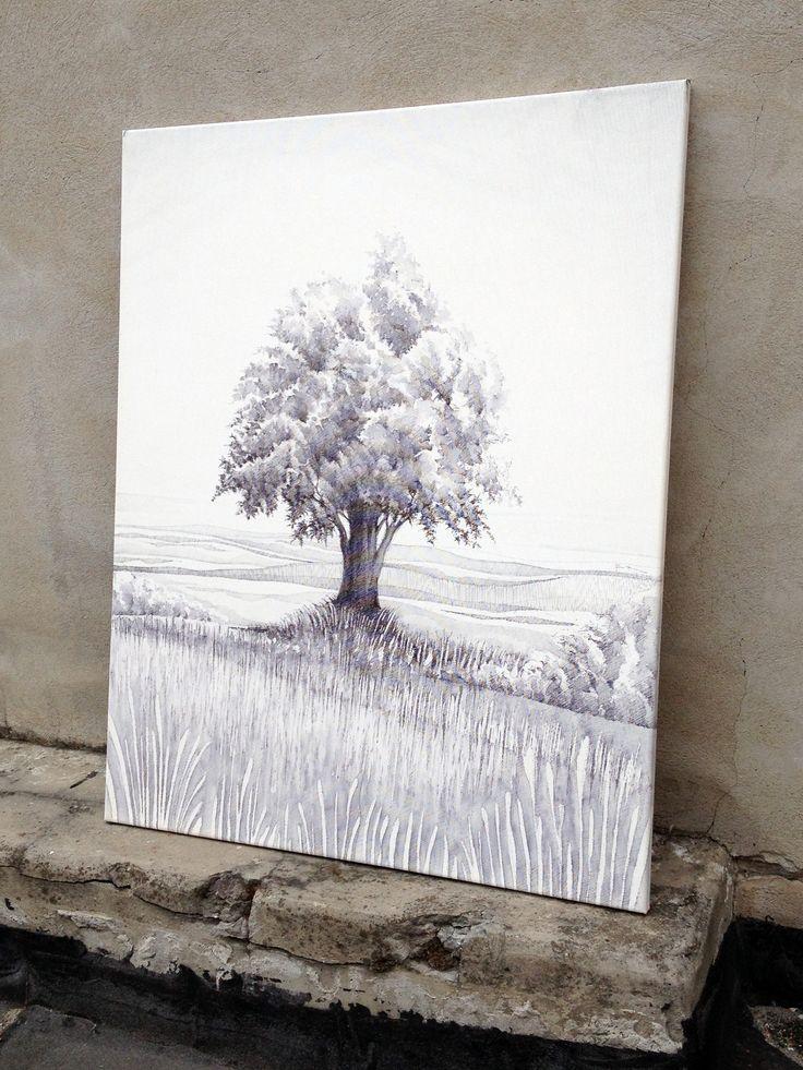 Strom - kresba na plátno