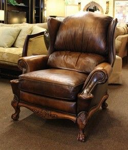 Brown Leather Oversized Wingback Recliner By Hancock