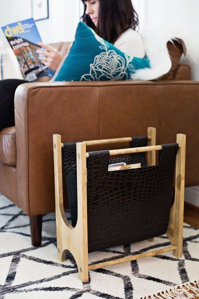 Wood+++Leather+Magazine+Holder+DIY