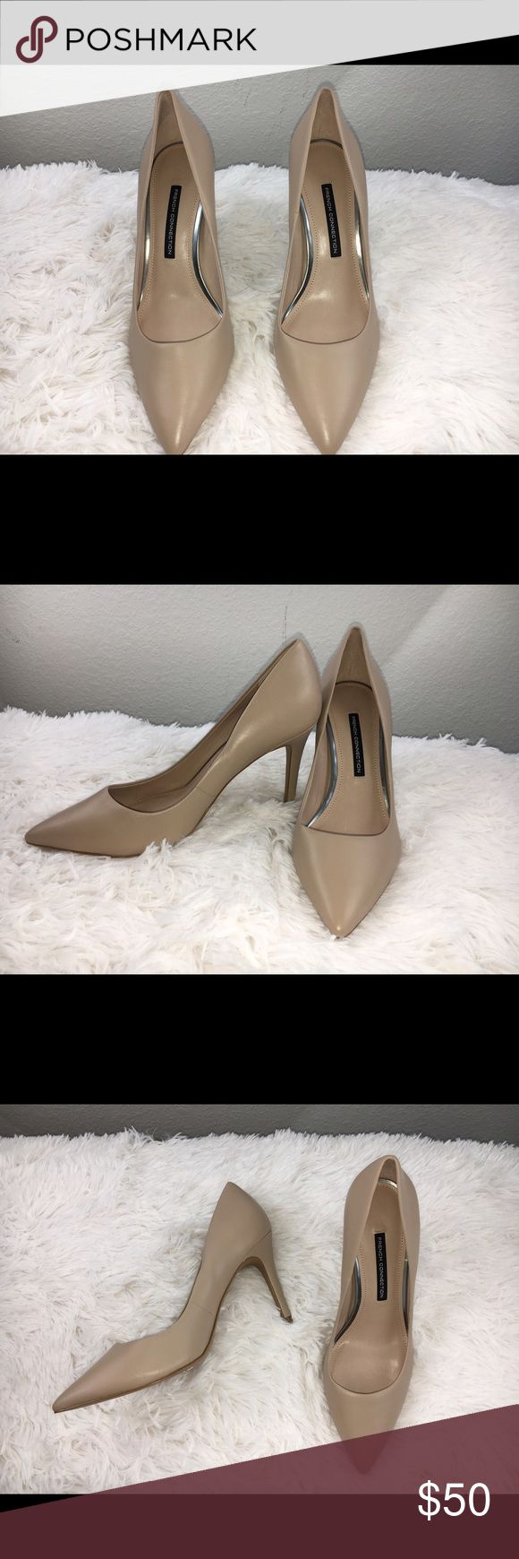 New French Connection Nude Heels New French Connection Nude Leather Heels, never worn French Connection Shoes Heels