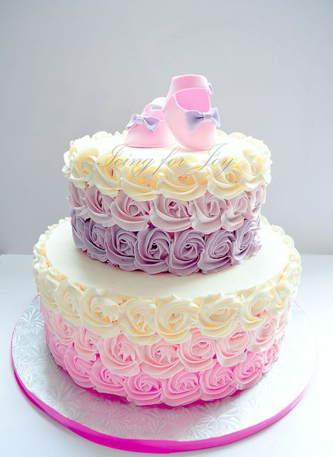 Baby shower ombre cake by Icing for Joy, via Flickr