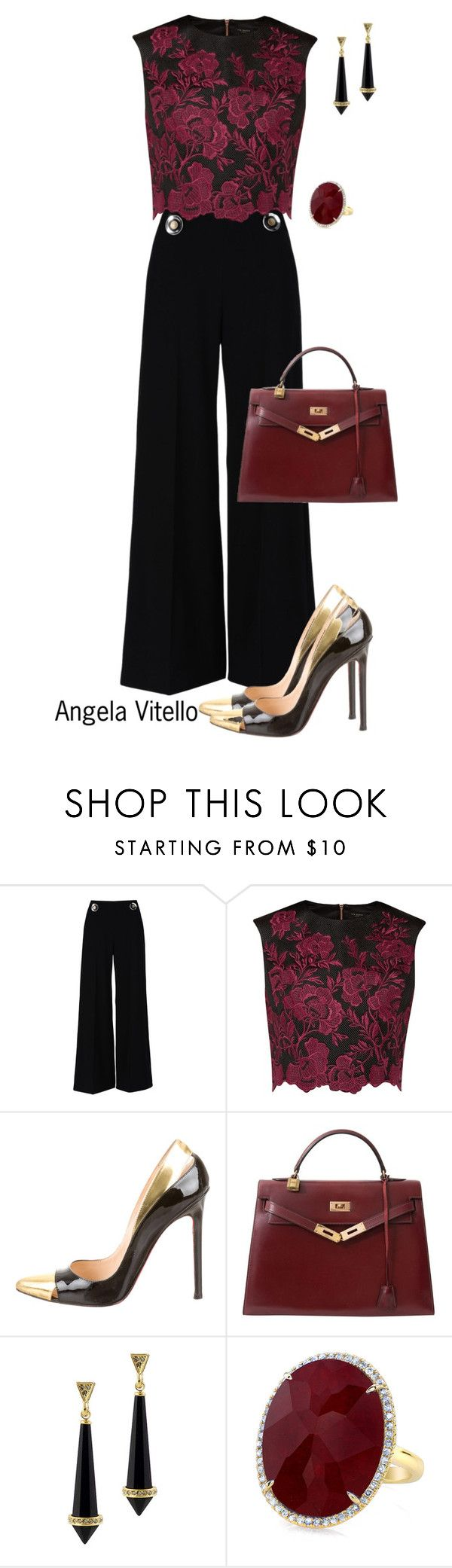 """Untitled #672"" by angela-vitello on Polyvore featuring STELLA McCARTNEY, Ted Baker, Christian Louboutin, Hermès, House of Harlow 1960, women's clothing, women, female, woman and misses"