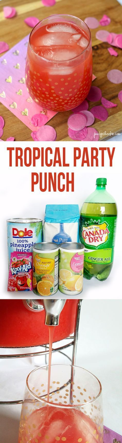Tropical Party Punch Recipe #cocktaildrinks