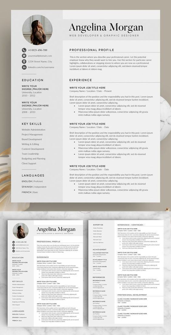 Resume Example With Headshot Photo Cover Letter 1 Page Word Resume Design Diy Cv Example Resume Template Professional Resume Design Resume Template Word