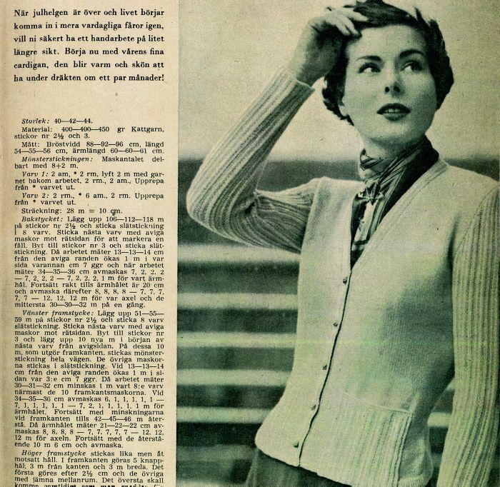 Vilken tur att man aldrig kan få för många snygga koftor i garderoben för nu har jag hittat ännu ett fint gammalt mönster från Året Runt, årgång 1951.  Denna stilrena kofta stickas i tunt...