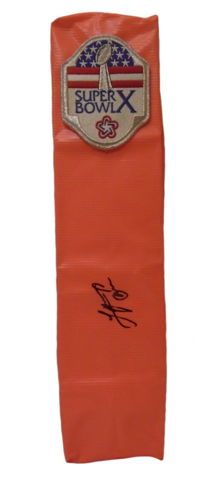 Lynn Swann Autographed Pittsburgh Steelers Super Bowl X Full Size Football End Zone. This is a brand-new custom Lynn Swann signed Super Bowl X full size football end zone pylon.  This pylon measures 4 inches (Width)  X 4 inches (Length) X 18 inches (Height).  Lynn signed the pylon in black sharpie. Check out the photo of Lynn signing for us. ** Proof photo is included for free with purchase. Please click on images to enlarge. Please browse our website for additional NFL & NCAA…