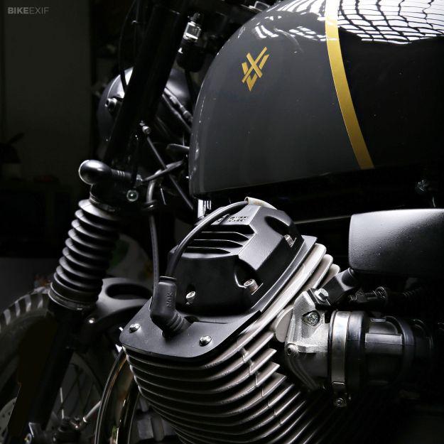 Moto Guzzi V7 Stone customized by Stefano Venier - front fender mount and spark plug cap details