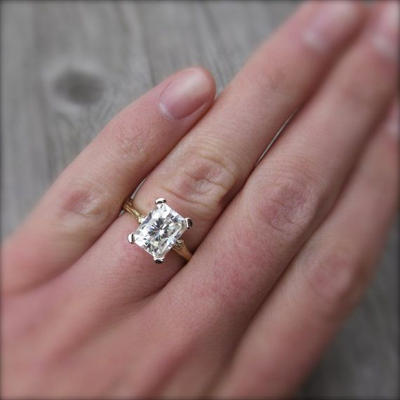 emerald cut moissanite branch engagement ring white. Black Bedroom Furniture Sets. Home Design Ideas