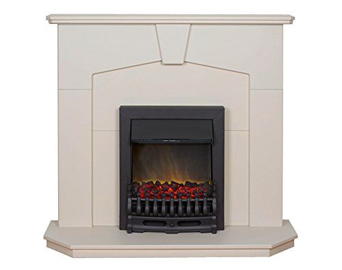 Traditional surround with Travertine stone effect finish mantle, back panel and…