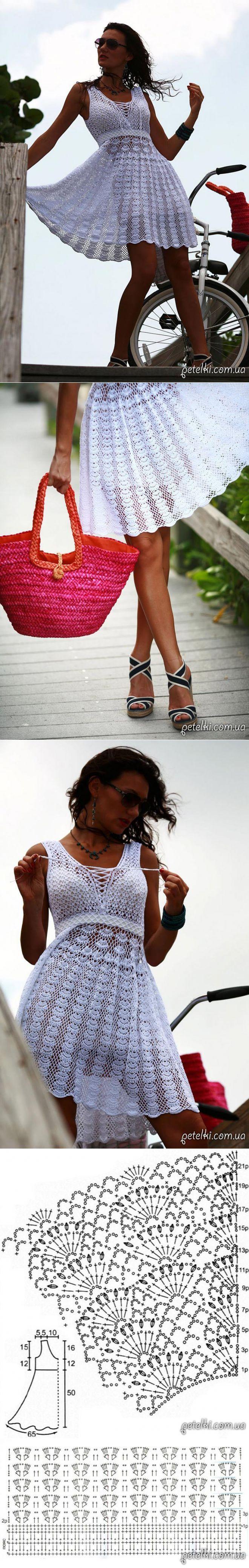Белоснежное ажурное платье крючком. Схемы