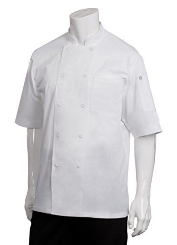 Chef Works Men's Montreal Cool Vent Chef Coat (JLCV):   4.6-Ounce 65/35-Poly/cotton  Short sleeve with cool vent fabric across back and shoulders  Cloth covered buttons, left patch breast pocket and thermometer pocket  Double-breast  Machine was with like colors, tumble try low