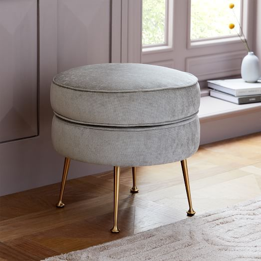 Tremendous Pietro Mid Century Oval Ottoman Luxe Boucle Stone White Squirreltailoven Fun Painted Chair Ideas Images Squirreltailovenorg