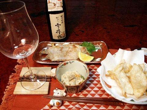 越乃雪椿純米吟醸花ラベルとカレイの塩焼き、酒粕とエビの揚げ餃子、おからで楽しみました♪