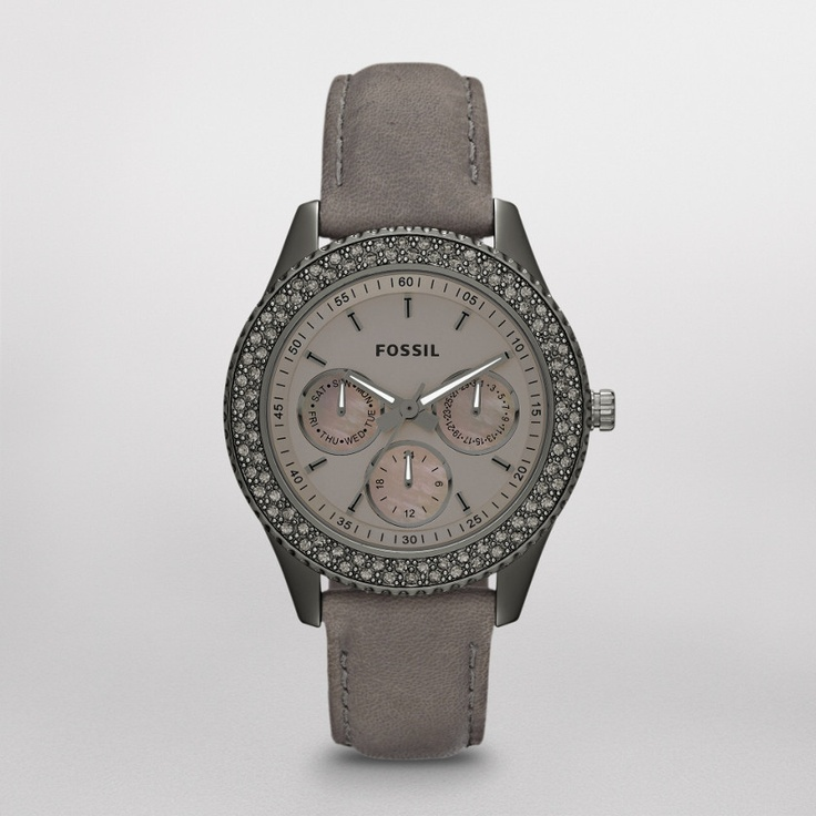 FOSSIL® Watch Styles Leather Watches:Women Stella Leather Watch – Smoke ES3127: Stella Leather, Fossil Stella, Fashion, Style, Leather Watches, Fossils, Watches Women Stella, Products, Stella Watches Women