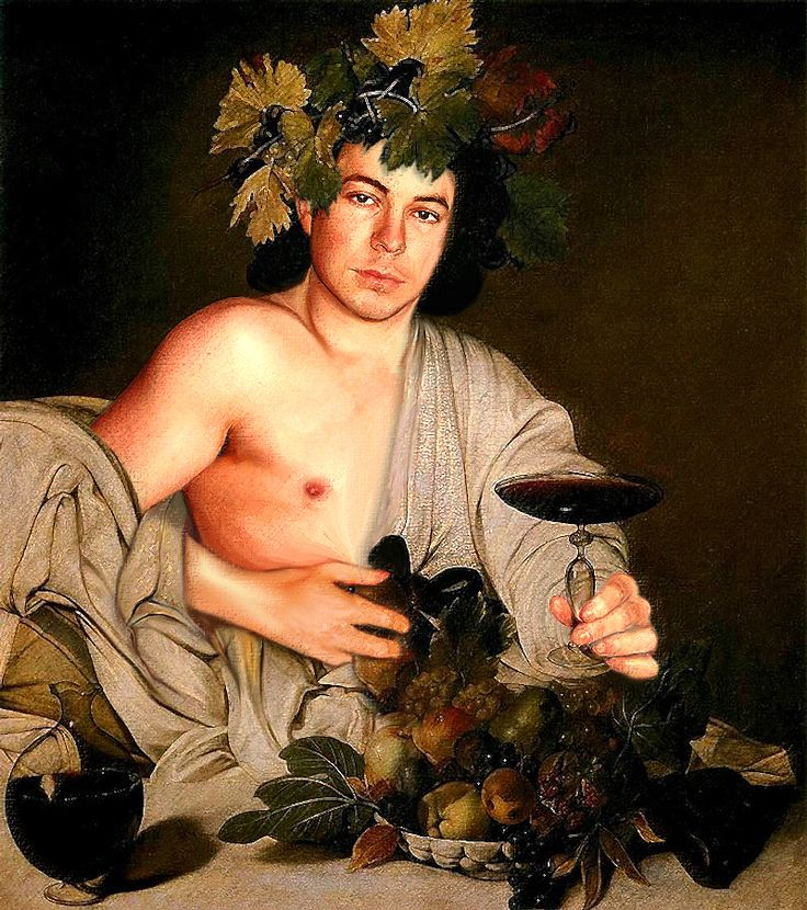 """Caravaggio's """"Bacco"""" with Andrei Telfer. This is Andrei's torso, in a pastel version."""
