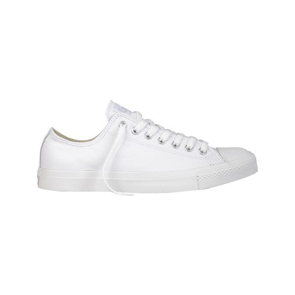 Converse Chuck Taylor All Star Low Leather Sneaker ($60) ❤ liked on Polyvore featuring shoes, sneakers, white leather sneakers, white trainers, star sneakers, evening shoes and leather sneakers