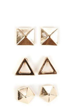 This set of three stud earring feature a high-shine finish, geometric design and push back fastenings. PLEASE NOTE DUE TO HYGIENE REASONS WE CANNOT ACCEPT RETURNS OF EARRINGS.Fabric:Main: 90.0% Zinc  #WAREHOUSEWISHLIST