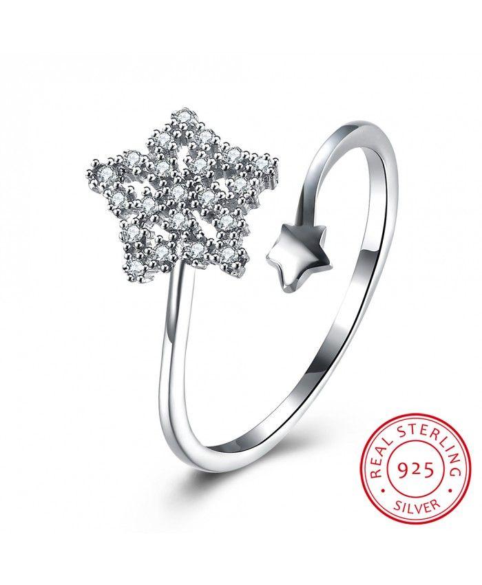 Ouruora 925 Sterling Silver Zircon Open Star Ring