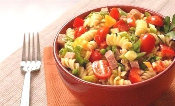 Salad with ham cheese and vegetables