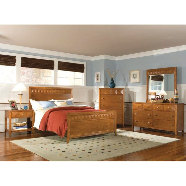 Trilogy Bedroom Bed Dresser Mirror Honey Queen 6414490