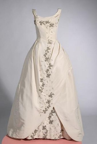 White Christmas ball gown with silver embroidery, 1961. Ms. Heather Morgan wore this ball gown at the Passavant Cotillion and Christmas Ball on December 23, 1961.