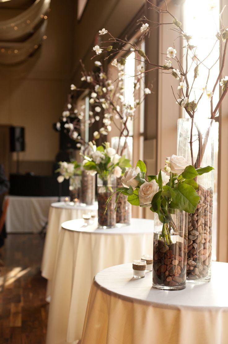 Green white brown wedding. Rustic wedding decor. Manzanita branches