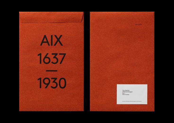 Sommarhälsning till kunder, samarbetspartners, leverantörer med flera inför den kommande publikationen AIX 1637—1930 (utkommer september 2013). Kuvert och mapp med treperforerade vykort.   Textförfattare: Lars Forsberg. Fotografi: C.G.V. Carleman (1860), Lennart Durehed och Peder Lindbom, AIX Arkitekter.   Mapp: 220x340 mm. Vykort: 148x105 mm. Offset, UV-lack och perforering. På uppdrag av AIX Arkitekter, 2013.
