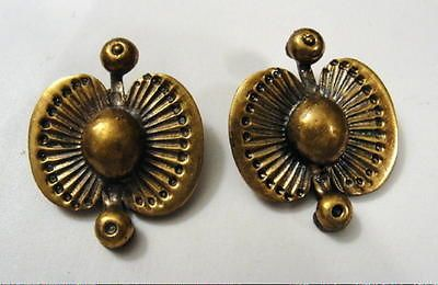 Seppo Tamminen, modernist bronze clip earrings, 1970's. #Finland