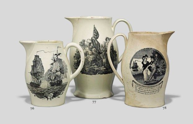 [JOHN JERVIS, EARL OF ST VINCENT] An English creamware transfer printed jug, circa 1780-90 printed with a portrait of 'Sir John Jarvis Admiral of the Blue' and a scene titled 'Jack Spritsails Frolic'