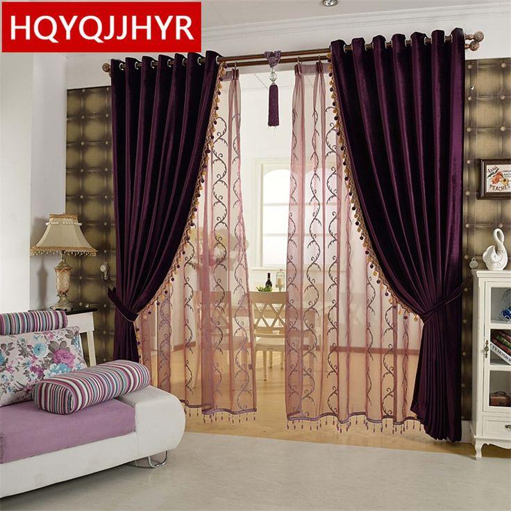 european luxury aristocratic purple bedroom curtains high grade solid color modern minimalist living room - Bedroom Curtain Colors