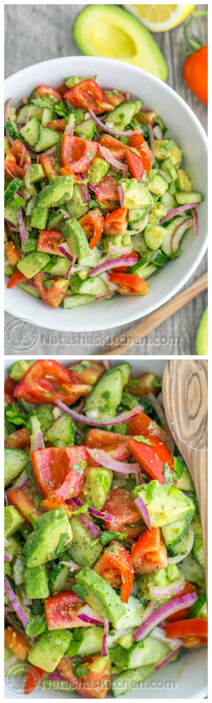 This Cucumber Tomato Avocado Salad - 2 Avocados, 1/4 cup Cilantro, 1 English cucumber, 1 tbsp Lemon juice, 1/2 Red onion, 1 lb Roma tomatoes, 1/8 tsp Black pepper, 1 tsp Sea salt, 2 tbsp Olive/sunflower oil