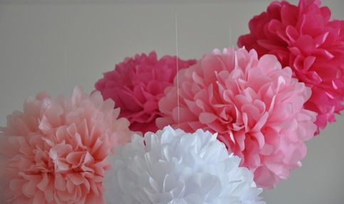 Handcrafted tissue paper pom poms perfect for:  birthday party decor  nursery decor  wedding decor baby & bridal showers  photo shoots  store & window displays  childrens rooms  baby mobiles  Set includes:  7 poms in large and medium Sizes range from 16 - 12 Clear string for hang...