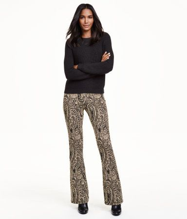 Jazz pants in soft, thick jersey with flared legs.