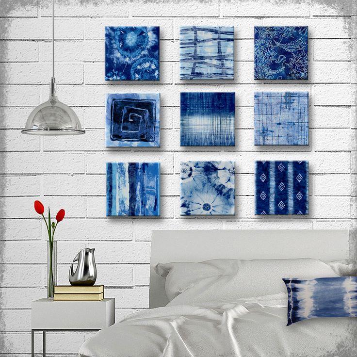 Indigo Tie Dye Batik Glass Wall Art - Handmade Decoupage 5, 6, 7, 8 or 9 inch Set of 9 Square Glass Wall Blocks - I've got the Blues by tzaddihome on Etsy https://www.etsy.com/listing/238810821/indigo-tie-dye-batik-glass-wall-art