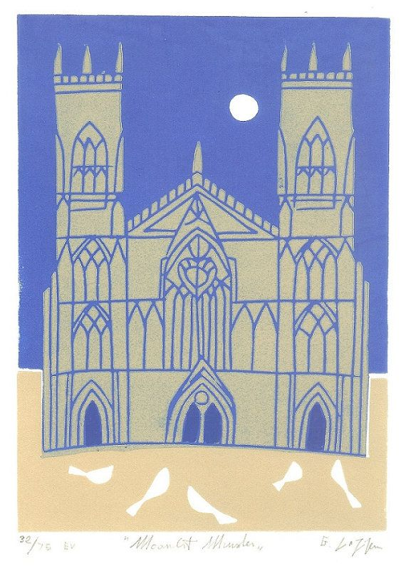 York Minster Limited Edition Linocut, Gothic Cathedral Print - Yorkshire UK Medieval Church, Blue and Gold,Printmaking, Contemporary Art