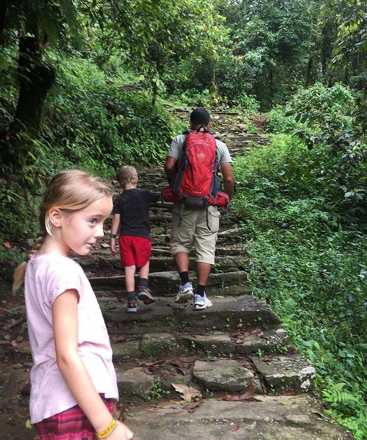 Kids trekking to Dhampus, Nepal