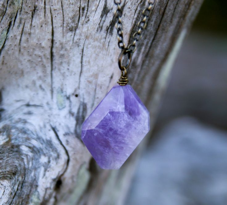 An amethyst to support you on your journey of becoming. :: Soul Mantra necklace