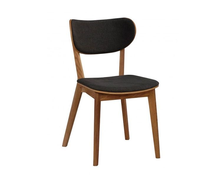 Cato stol svart ek med grått tyg